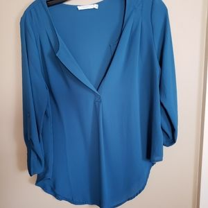 Teal roll tab vneck blouse